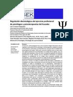 regulación deontológica del ejercicio profesional de psicólogos y psicoterapeutas del Ecuador