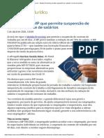 ConJur - Medida Provisória permite suspensão de contrato e corte de salários