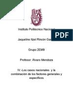 IV. Los Casos Nacionales y La Combinación de Los Factores Generales y Especificos.