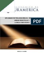 UNIDAD DIDACTICA 1 TEOLOGÍA BÍBLICA - INTRODUCCION
