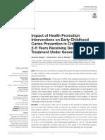 ART 2 Impacto de las intervenciones de promoción de la salud en la prevención de la caries en la primera infancia en niños de 2 a 5 años que reciben tratamiento dental bajo anestesia general