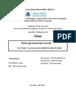 Entrepreneuriat Social Cas d'Étude Le Mouvement Associatif de La Wilaya de Bejaïa