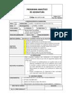 Programa analitico de Diseño y Evaluación de Proyectos