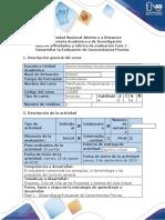 Guía de actividades y rubrica de evaluación Fase 1 - Desarrollar la evaluación de conocimientos previos