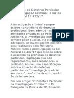 A atuacao do Detetive Particular na Investigação Criminal