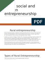 Rural, social and women entrepreneurship