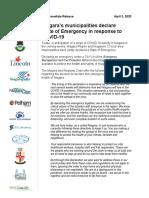 Niagara Region and its 12 municipalities state of emergency statement