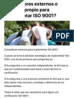 ¿consultores externos o personal propio para implementar iso 9001?