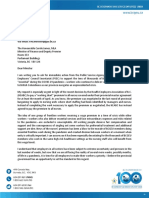 Letter to Minister of Finance April 3 2020