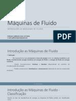 1. Aula - Introdução máquinas de fluido