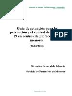 2020.03.26 Guía actuaciones Coronavirus en Centros de menores