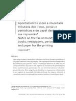 Apontamentos sobre a imunidade tributária dos livros, jornais e periódicos e do papel destinado à sua impressão