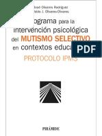 Programa para la intervención psicológica del mutismo selectivo en contextos educativos - José Olivares Rodríguez