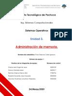 ADMINISTRACIÓN DE MEMORIA SISTEMAS OPERATIVOS