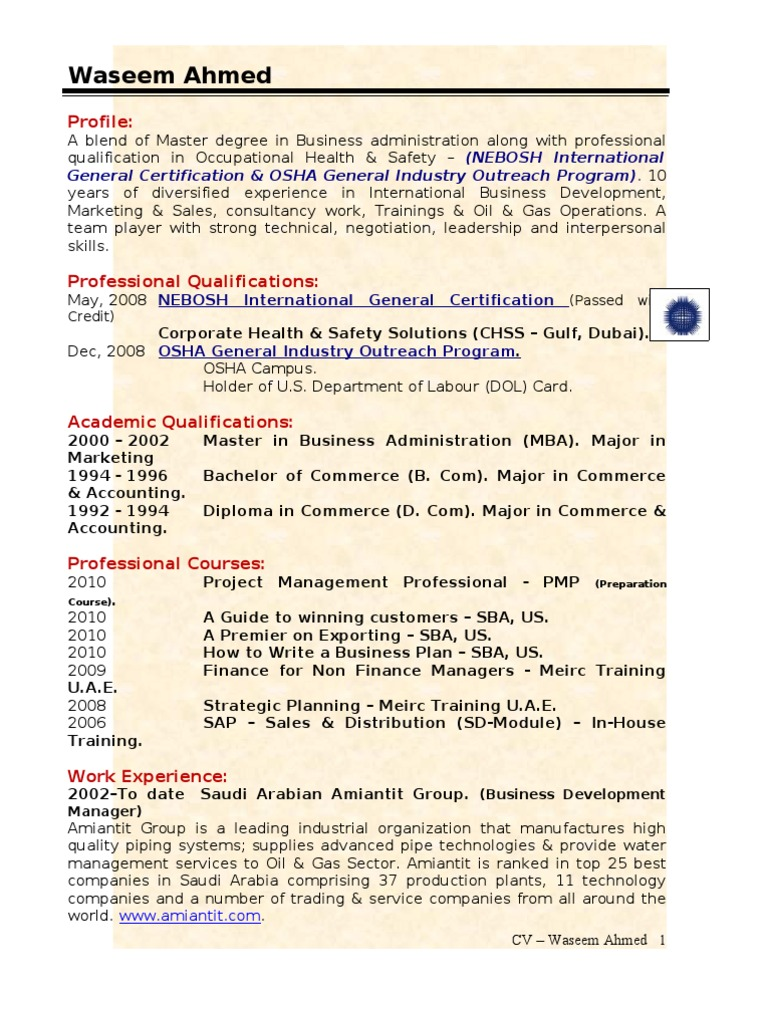 Waseem Ahmed CV2 | Master Of Business Administration | Business