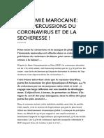 Economie Marocaine Les Repercussions Du Coronavirus Et de La Secheresse