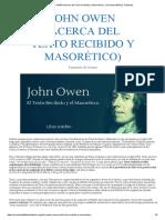 JOHN OWEN (Acerca del Texto Recibido y Masorético) - (Sociedad Bíblica Trinitaria)