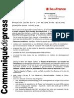 Communiqué Avis de la Région IDF sur le Grand Paris