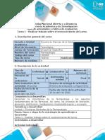 Guía de actividades y rúbrica de evaluación - Tarea 1 - Realizar trabajo sobre el reconocimiento del curso.