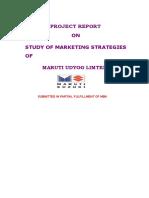 Maruti - Study of Marketing Strategies - MBA Project Report