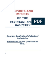 Exports and Imports of the Pakistani Food Industry