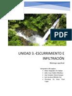 UNIDAD 3.-ESCURRIMIENTO E INFILTRACION