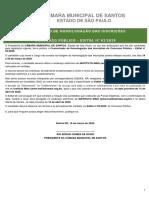 Comunicado de Homologação das Inscrições – 18-03-2020