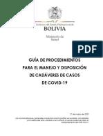 Guía de Procedimientos Para El Manejo y Disposición de Cadáveres de Casos de COVID-19