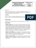 PROGRAMA GESTION DE RESIDUOS SOLIDOS