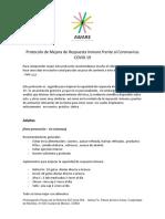Protocolo de Mejora de respuesta inmune frente al Coronavirus COVID 19