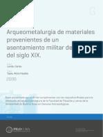 Landa -2006- Arqueometalurgia de materiales provenientes de un asentamiento militar de fines del siglo XIX. Fortin La Perra