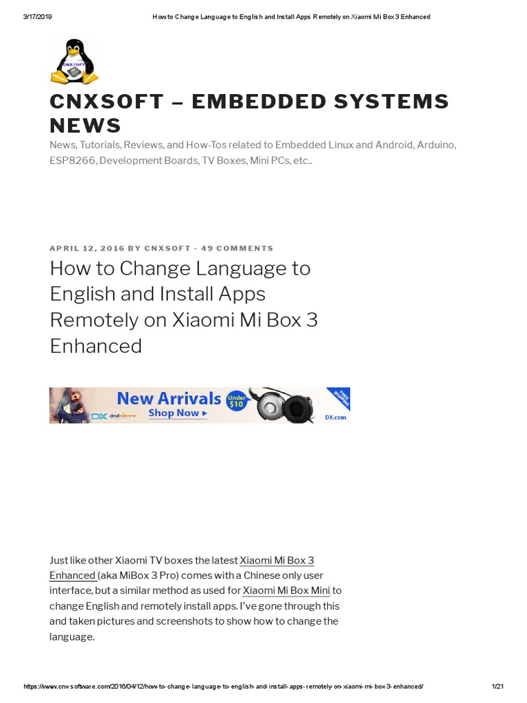 Cnxsoft Embedded Systems News How To Change Language To English And Install Apps Remotely On Xiaomi Mi Box 3 Enhanced Google Play Mobile App