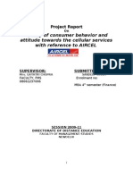 Project Report on Study of Consumer Behaviour and Attitude Towards the Cellular Services With Refrence to Aircel