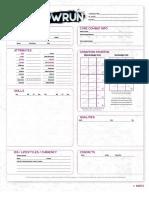 Shadowrun, Sixth World character sheet