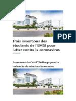 Trois inventions des étudiants de l'EMSI pour lutter contre le coronavirus