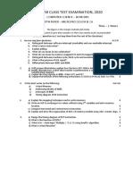 3rd year Class test exam,2020 (Microprocessor & CA)