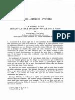 LA CHOSE JUGEE DEVANT LA COUR INTERNATIONALE DE LA HAYE - CHARLES DE VISSCHER
