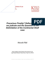 PRECARIOUS FINALITY REFLECTIONS ON RES JUDICATA AND THE QUESTION OF THE DELIMITATION OF THE CONTINENTAL SHELF CASE - NICCOLÒ RIDI