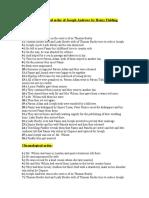 Chronological order of Joseph Andrews by Henry Fielding