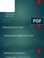 Evaluation & Principles of oop