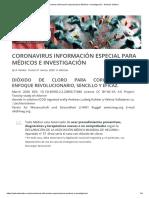 Coronavirus información especial para Médicos e Investigación - Andreas Kalcker
