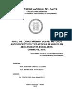NIVEL DE CONOCIMIENTO SOBRE MÉTODOS ANTICONCEPTIVOS Y PRÁCTICAS SEXUALES EN ADOLESCENTES ESCOLARES. CHIMBOTE, 2016.