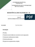 TENSÃO E PROJECTO DE ACOPLAMENTOS SIMPLES