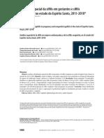 Análise espacial da sífilis em gestantes e sífilis congênita no estado do Espírito Santo, 2011-2018