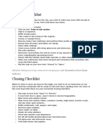 Opening Checklist