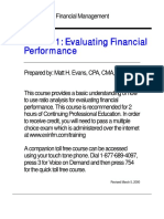 Business Finance - Excellence In Financial Management - Evaluating Financial Performance