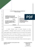 WASHLITE v. Fox News Et. Alia Plaintiffs Complaint for Decl. Relief