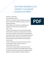 ACTIVIDADES PARA DESARROLLO DE HABILIDADES Y CUALIDADES RESILIENTES EN NIÑOS
