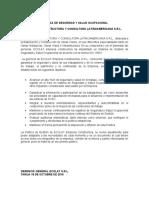 POLITICA DE SEGURIDAD Y SALUD OCUPACIONAL