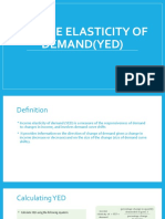 Income elasticity of demand(YED)